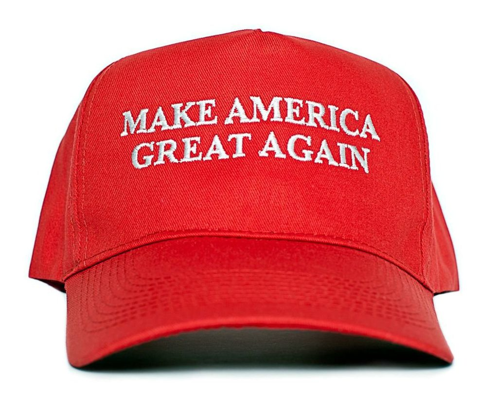 "A ""Make America great again"" hat."